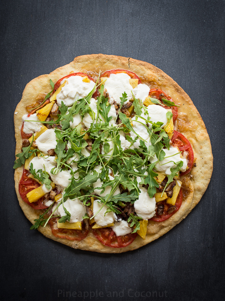13753176114 f54b13ee8e o Grilled Pineapple, Crispy Pork Belly, Burrata and Arugula Pizza.