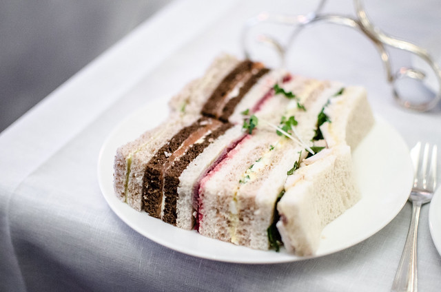 A selection of perfectly trimmed sandwiches served at afternoon tea at Brown's Hotel.