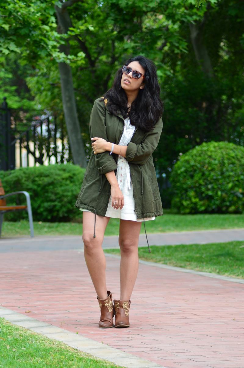 florenciablog green parka zara stradivarius look beig bolso hippie mochila gandia fashion style (4)