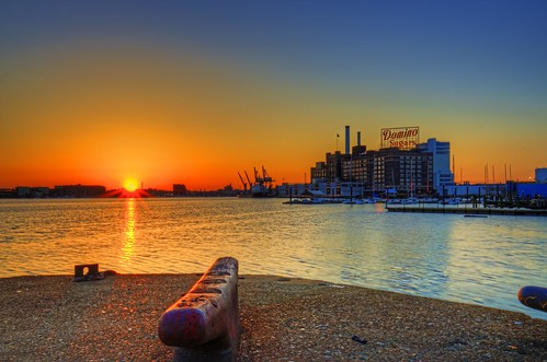 baltimore md maryland innerharbor dominosugars sign dawn twilight sunrise morning hdr highdynamicrange patapscoriver craigfildesfineartamericacom