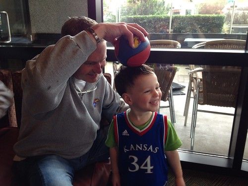 Cheering for KU with Roman
