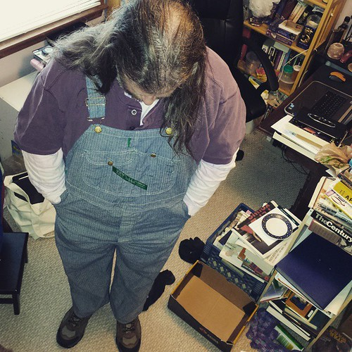 First official wearing of the new herringbone overalls, wheeee! #Huzzah #overalls #herringbone #Key #vintage #dungarees