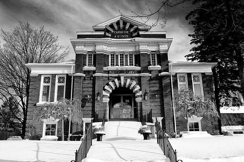 winter snow ontario building public architecture library carnegie 1900s milverton