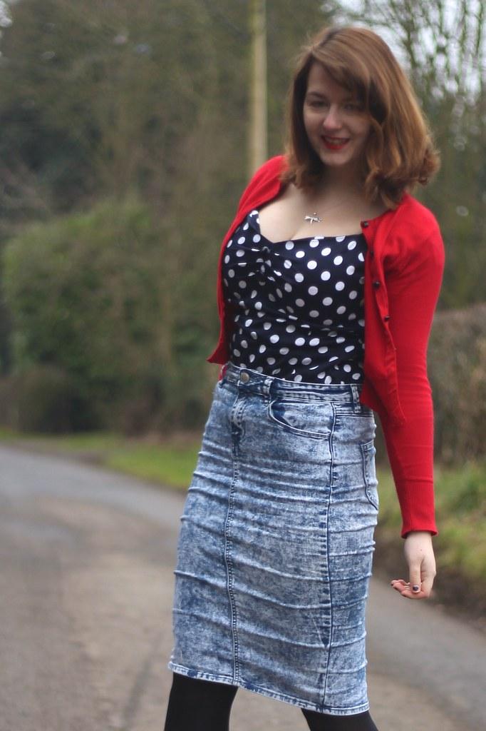 Collectif polka dot top, denim skirt, red cardi