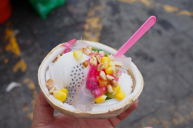 "coconut ice-cream with free ""toppings"", Bangkok, Thailand"