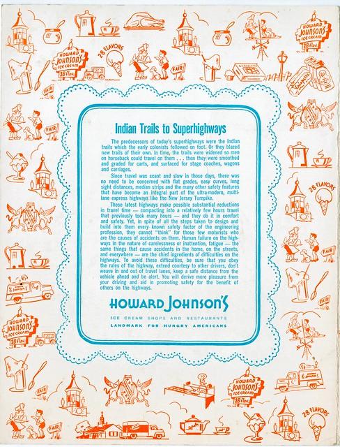 Howard Johnson's menu back New Jersey Turnpike NJ