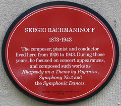 Photo of Sergei Rachmaninoff red plaque