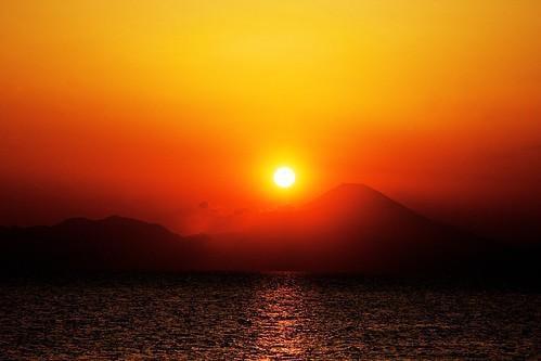 sunset mountain japan peninsula kanagawa mtfuji miura jogashima