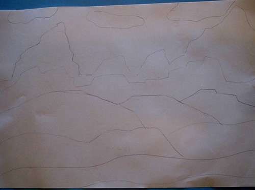 Contour  line drawing of landscape