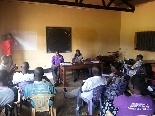 Ojok Patrick leads a training session for coaches of inclusive disability sports