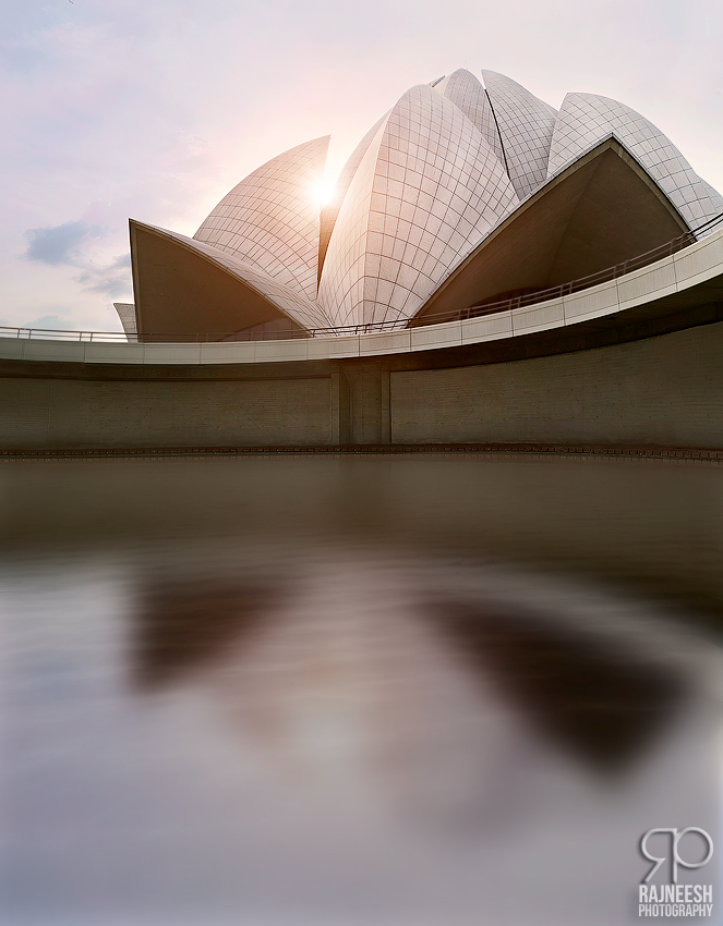 Serene HDR Panorama Lotus Temple