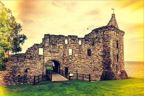 Image of St. Andrews Castle in Scotland using light leak effect