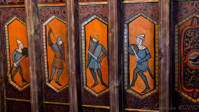 Medieval Fencers Ceiling Painting, Hearst Castle, San Simeon, California, 2013