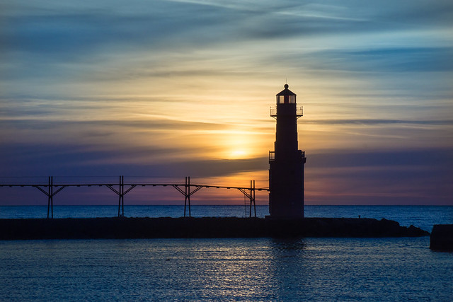 Blue, Sky, Sunrise, Lighthouse, Algoma, WI, Lake Michigan, Morning