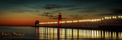 longexposure november sunset red sun lighthouse lake water canon lights pier michigan lakemichigan grandhaven westmichigan 2013 canon60d kevinpovenz