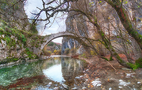 "old bridge trees reflection green fall water architecture photoshop river landscape rocks pentax greece hdr k7 sigma1020 ""flickraward"" blinkagain"
