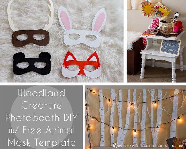 Woodland creature photobooth diy and free animal mask for Woodland animal masks template