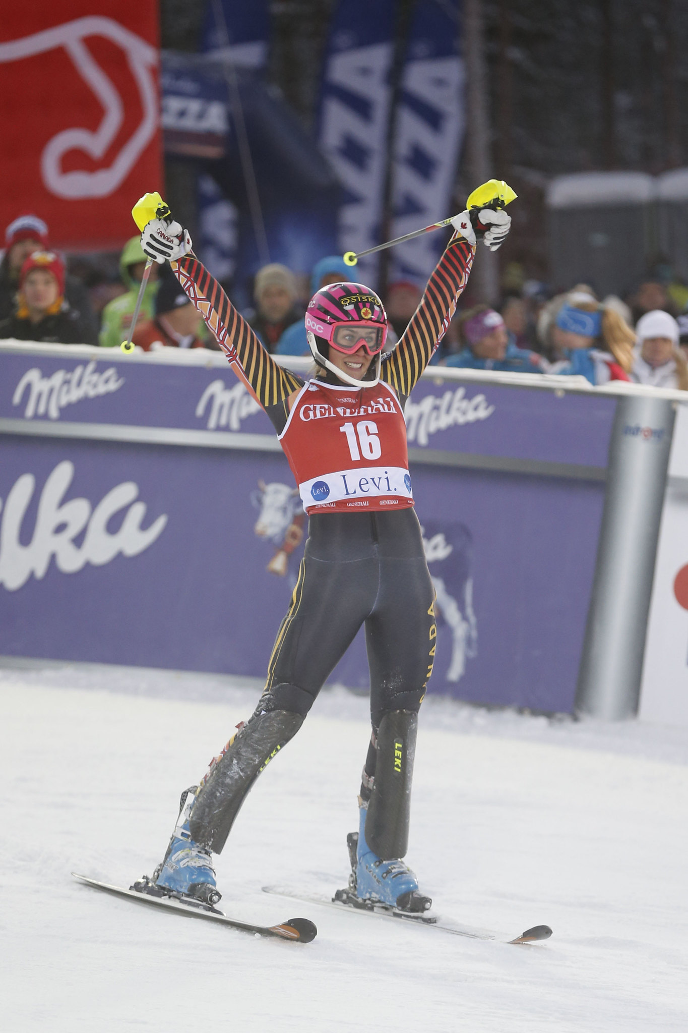 Marie-Michele Gagnon celebrates her 5th place finish in the slalom in Levi, FIN.