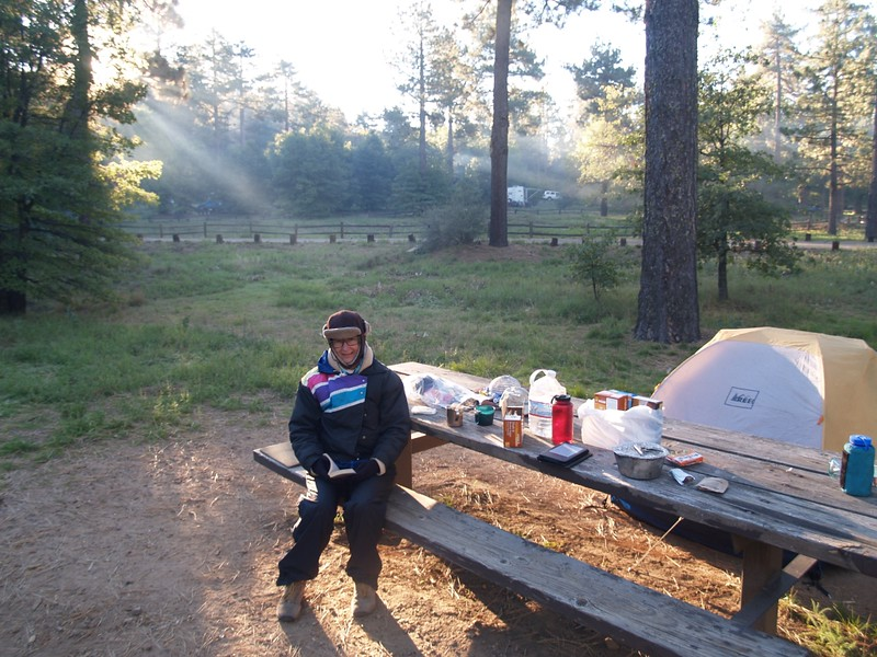 A chilly frosty autumn morning at the campground, with fragrant smoke from campfires in the air