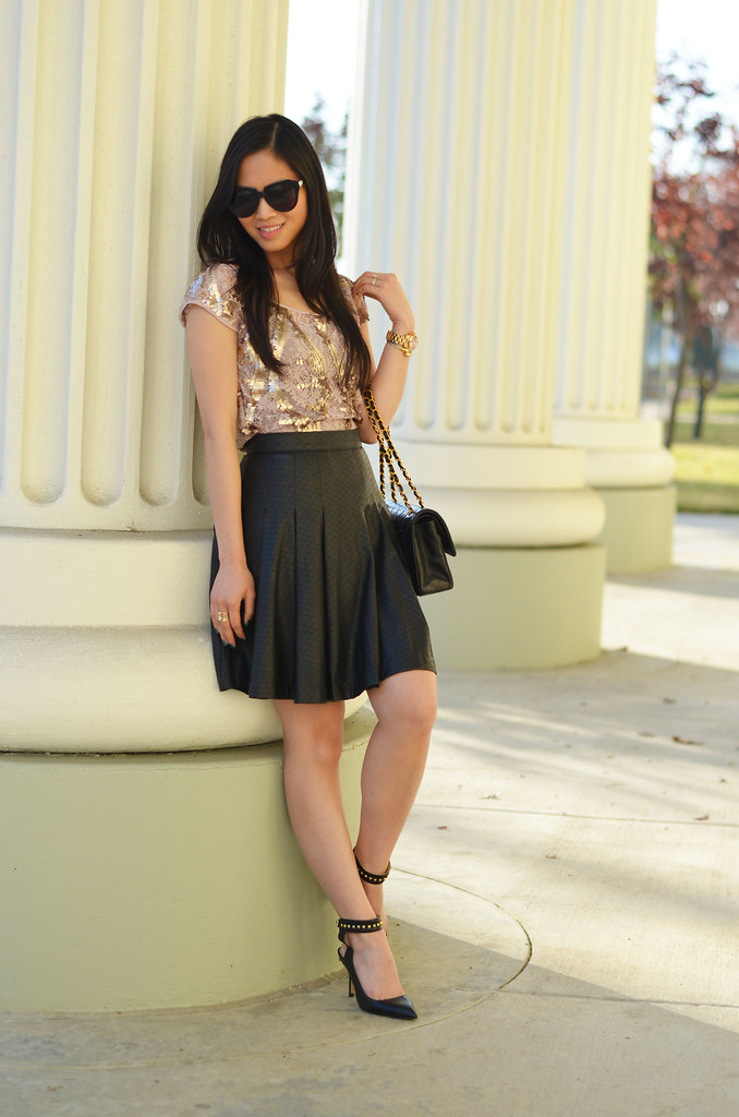 lace sequin top & black leather flare perforated skirt