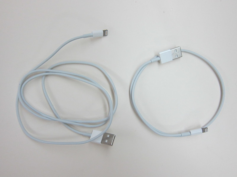 Apple Lightning to USB Cable - 1m (Left) vs 0.5m (Right)