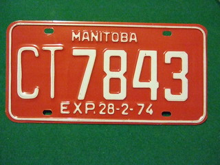 MANITOBA 28-2-74 ---COMMECIAL TRUCK PLATE #CT7843