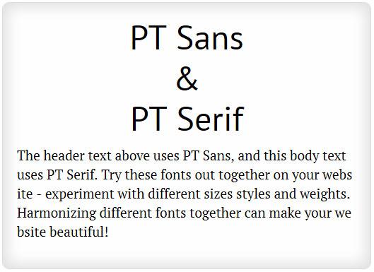 PT Sans and PT Serif