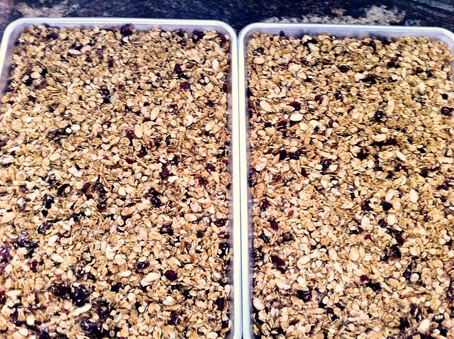Granola Spread Out on Baking Sheets
