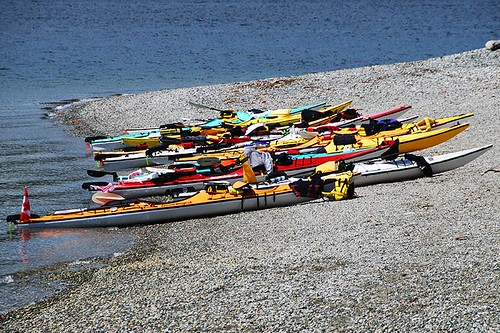 Kayaks at Rebecca Spit, Quadra Island, Discovery Islands, British Columbia, Canada