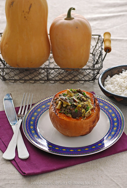 Stuffed squash with lentils and shiitake
