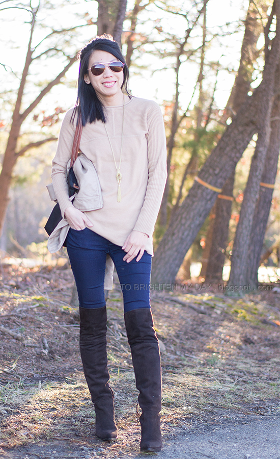 camel sweater, brown suede over the knee boots