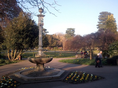 The flowers are in bloom at the Abbey Gardens