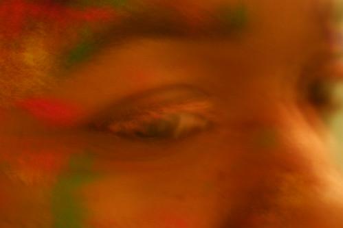Holi color eyelashes close-up