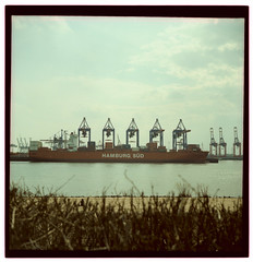 A woman sitting alone on Elbstrand watching cranes loading a container ship