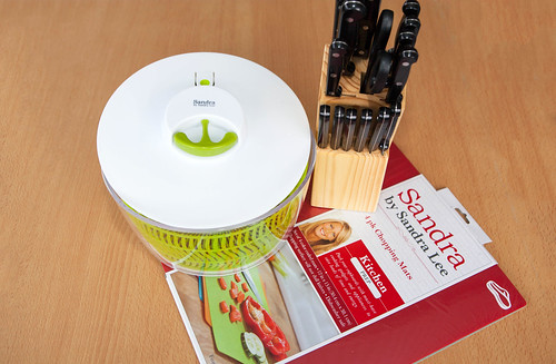 Sandra Lee Salad Spinner, Chopping Mats and Kenmore Set Knifes