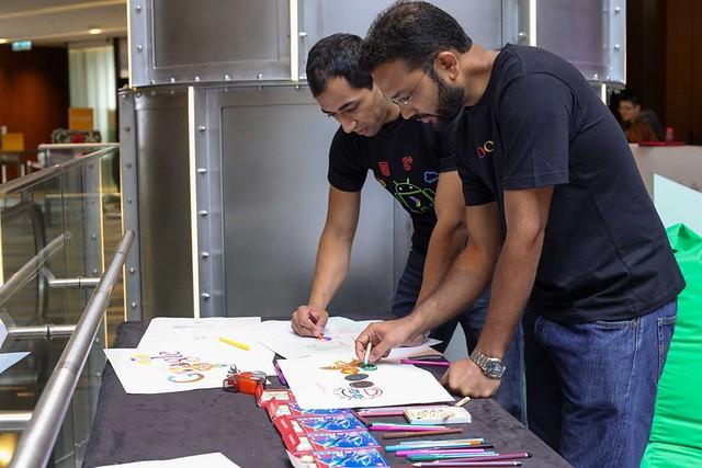 Matthew Zaheen and Sajith Sivanandan doodling at the launch of D4G