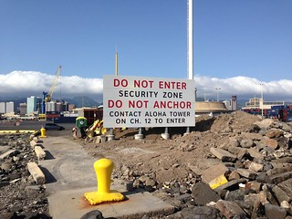 Construction will be completed on a new boating security sign in Honolulu Harbor, Friday. The new sign will inform mariners of the 24/7 security zone in the harbor and whom to contact for permission to enter. (U.S. Coast Guard photo)