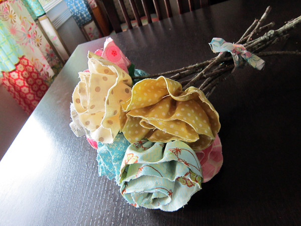 fabric rose bouquet