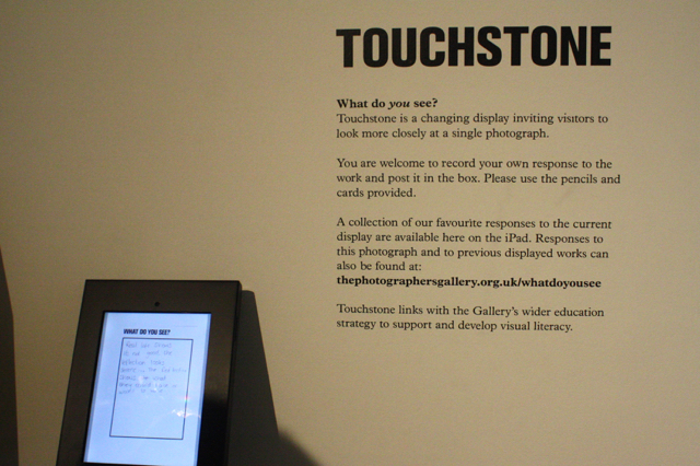 """Touchstone"" display at The Photographers Gallery, London"