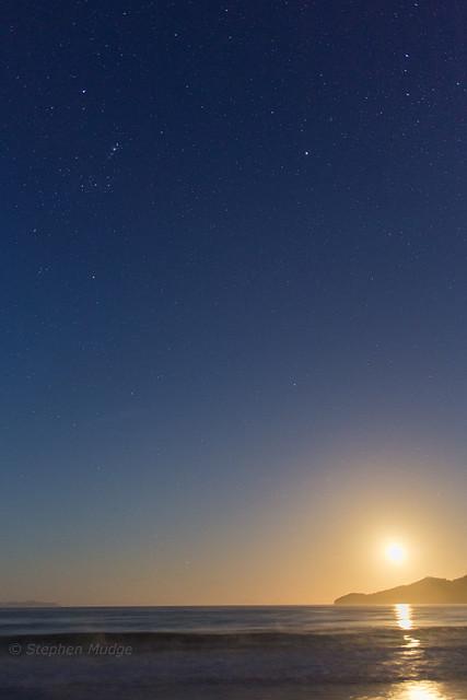 Golden Moonrise over Fluted Cape