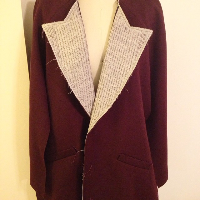 Progress tonight on the Yona coat! Attached the sleeves to the fronts and back, now I'm ready to padstitch the collar. If my interlining arrives before the weekend, maybe I'll finish it sooner than I thought! #tailoring #coatproject2015