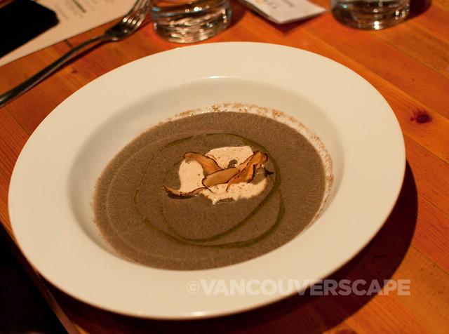 Wild mushroom soup, steeped fir needles, morel cream, crispy burdock chips
