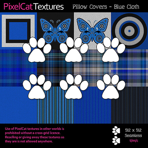 PixelCat Textures - Pillow Covers - Blue Cloth