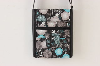 Hipster Bag with zipper closure and faux leather accents