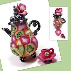 polymer clay Miniature Teapot/ Cup & Saucer