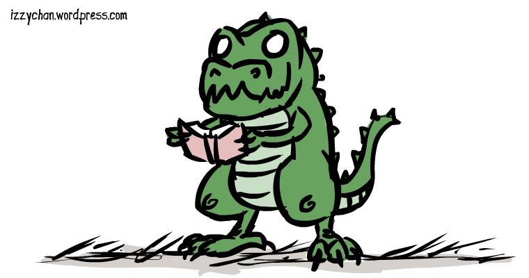 dinosaur green reading