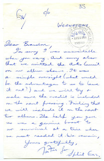 Letter from Tim Finn to Queen Elizabeth II Arts Council of New Zealand (1980)