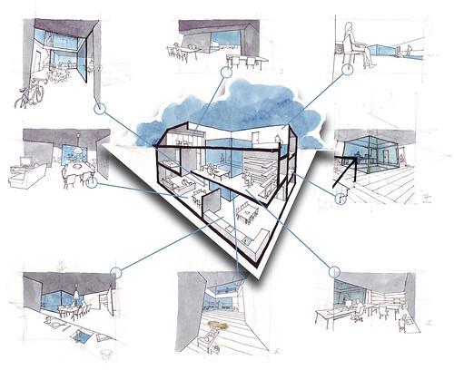Croquis arquitectura para una propuesta de vivienda