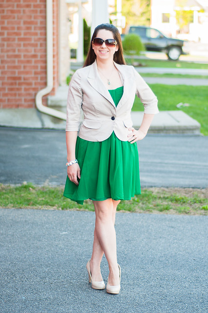 green dress khaki blazer nude pumps