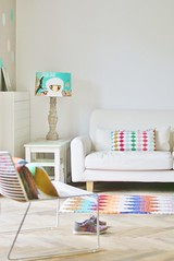 harlequin striped fringes pillow